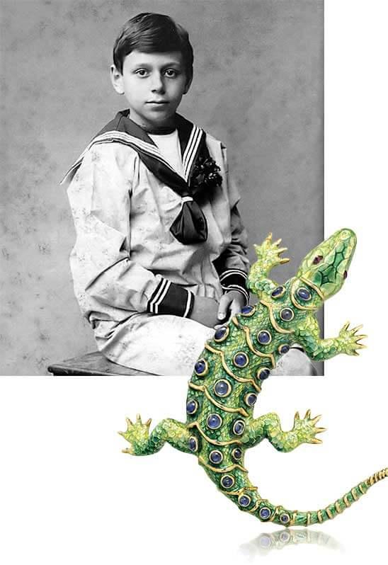 Fulco di Verdura Age 7 and Salamander Brooch