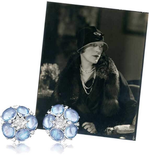 Mrs. Cole (Linda) Porter, circa 1920 with moonstone Stardust Cluster Earclips