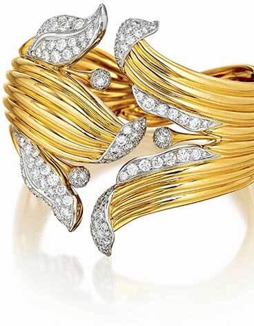 Verdura's Double Crescent Bracelet in gold and diamond