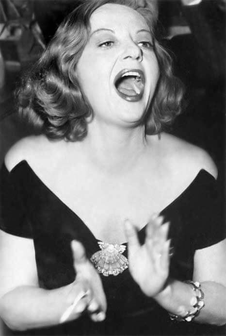 Tallulah Bankhead wearing Lions Paw Shell Brooch