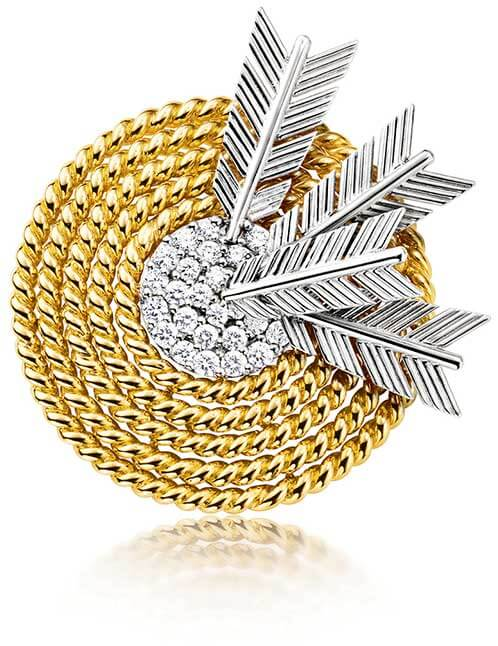 Diamond and gold target brooch