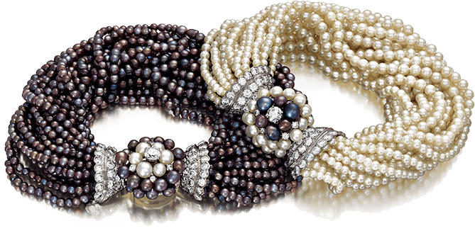 Verdura black and white pearl bracelets made for Babe Paley