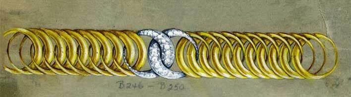 Gold and diamond double crescent bracelet sketch