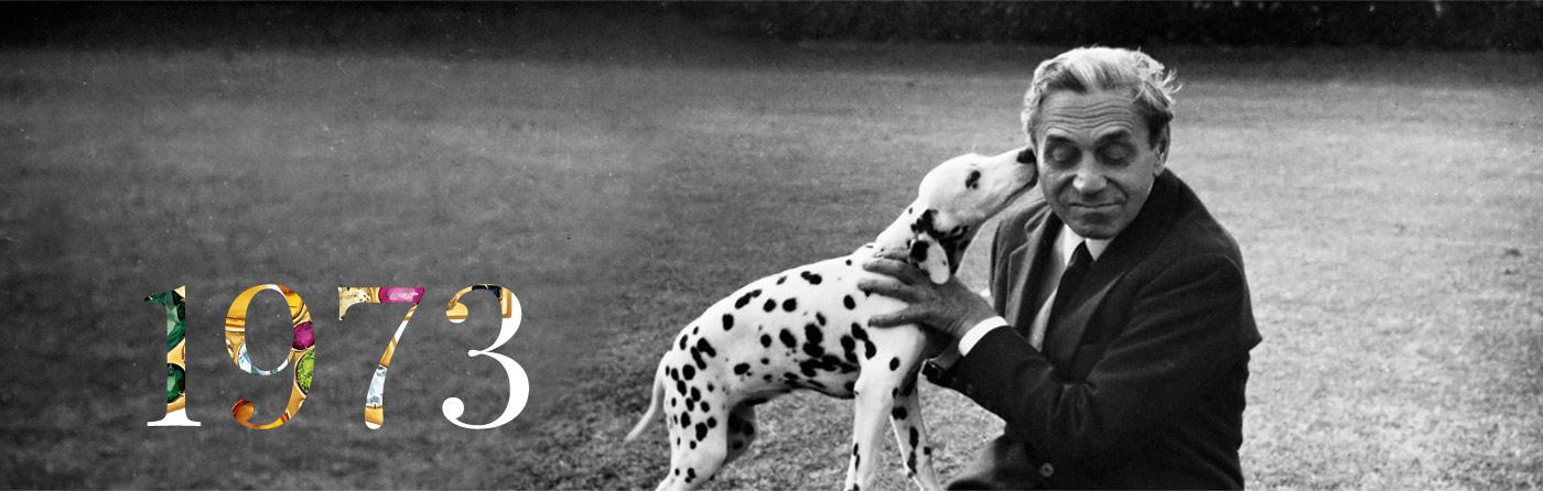 Nineteen seventy three, with image of Fulco di Verdura and his dog