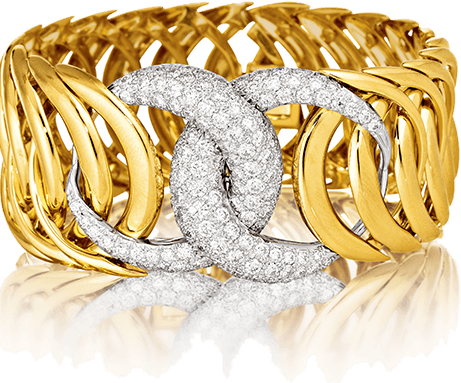 Gold and diamond double crescent bracelet