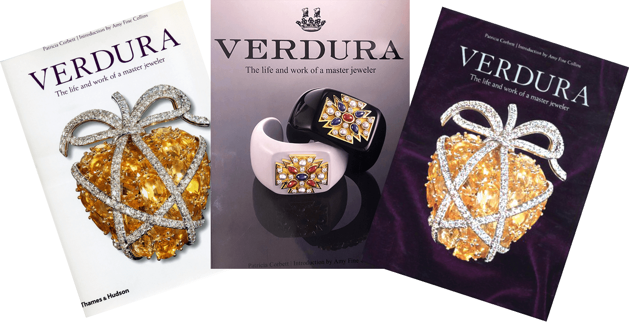 Variants of the front cover of the illustrated biography of Verdura, published by Thames and Hudson