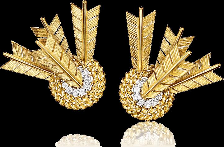 Diamond and gold target earclips