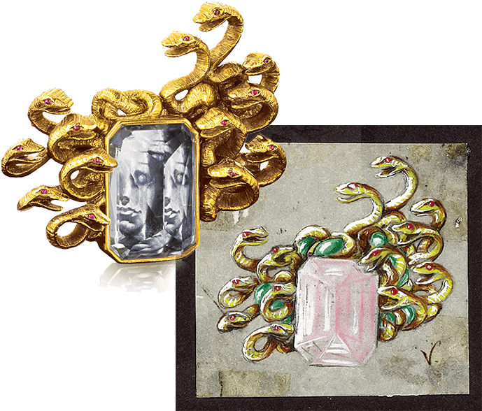 Sketch and product shot of Verdura and Dali's Medusa Brooch