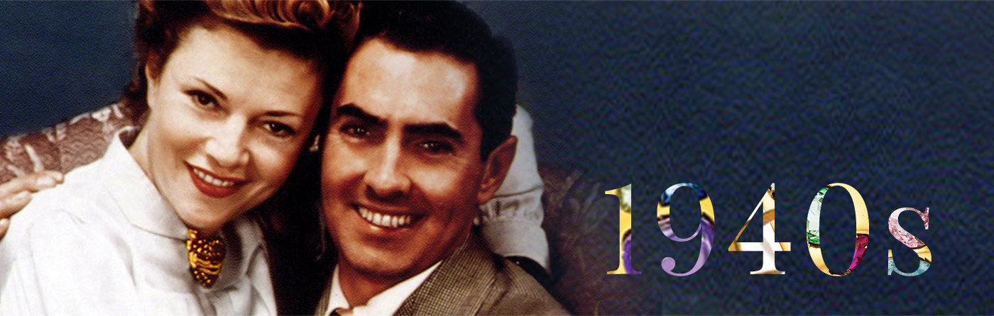 Nineteen forties with photo of tyrone power and wife annabella wearing Verdura wrapped heart brooch