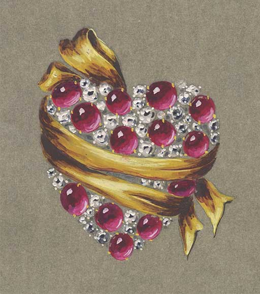 Wrapped heart brooch sketch