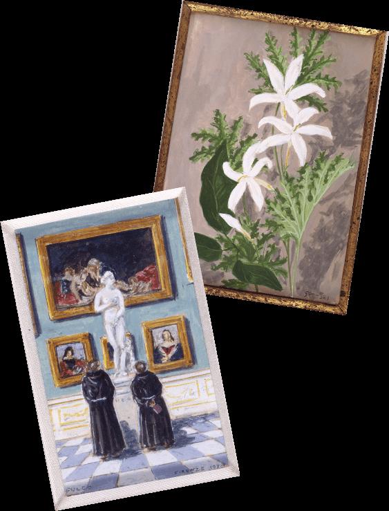 Two miniature paintings by duke Fulco di Verdura
