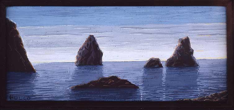 Miniature painting by Duke Fulco Di Verdura of cyclops island in the Mediterranean