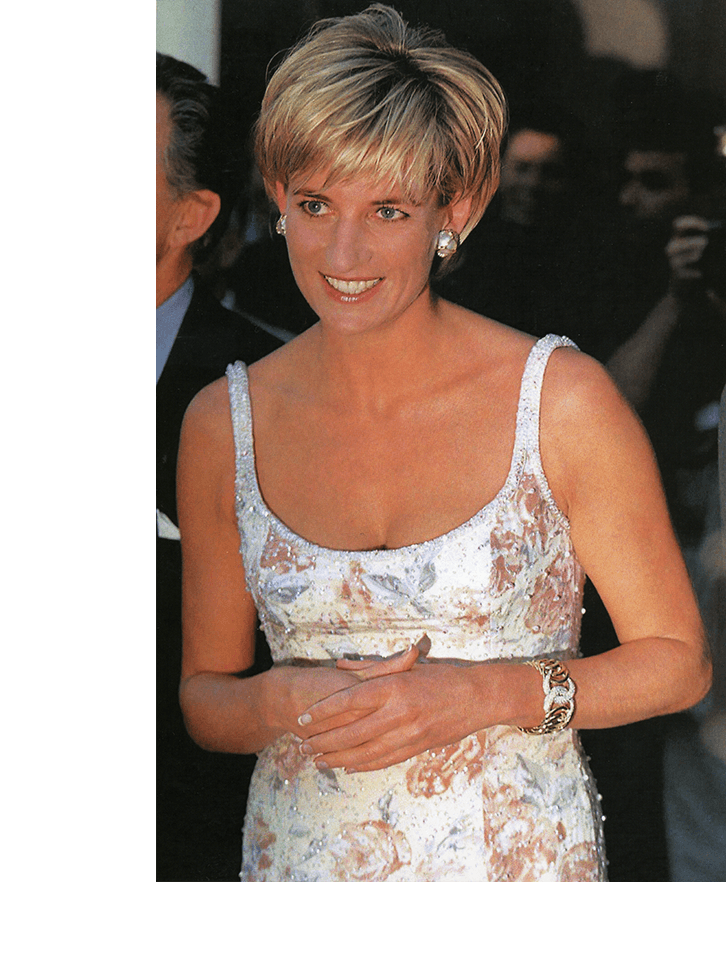 The late Princess Diana wearing Verdura's Double Crescent Bracelet in New York, 1997