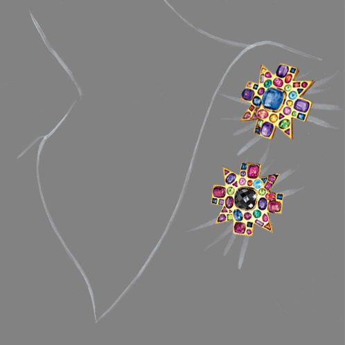 Verdura-Jewelry-Byzantine-Brooches-Scale-Rendering
