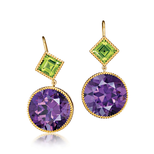 Verdura-Jewelry-Byzantine-Drop-Earrings-Round-Gold-Amethyst-Peridot