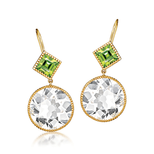 Verdura-Jewelry-Byzantine-Drop-Earrings-Round-Gold-White-Topaz-Peridot