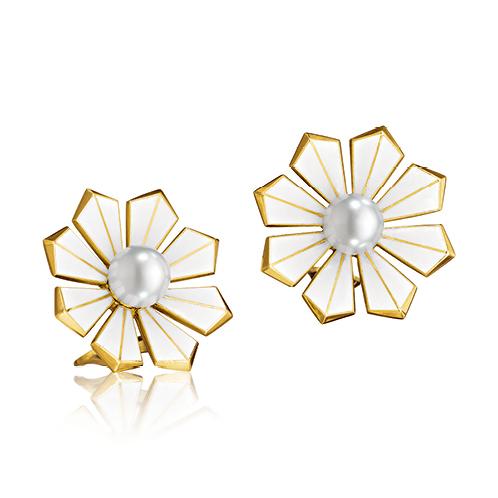 Verdura-Jewelry-Byzantine-Ray-Earclips-Gold-Pearl-Enamel
