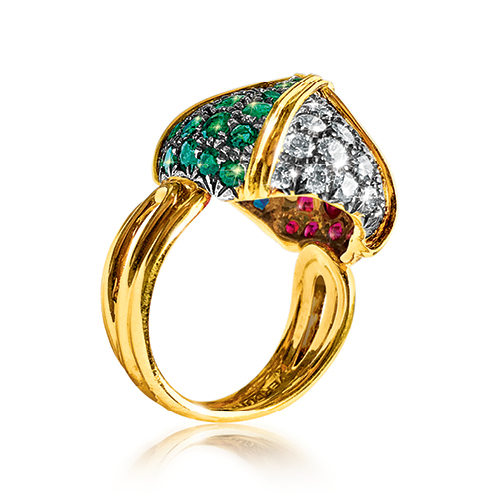 Verdura-Jewelry-Byzantine-Sugarloaf-Ring-Gold-Emerald-Sapphire-Ruby-Diamond-SIDE