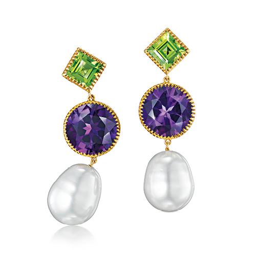 Verdura-Jewelry-Byzantine-Theodora-Earrings-Gold-Peridot-Amethyst-Pearl