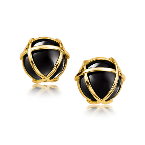 Verdura-Jewelry-Caged-Earclips-Gold-Onyx
