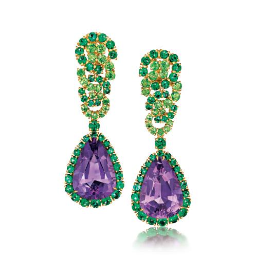 Verdura-Jewelry-Cascade-Earclips-Gold-Amethyst-Garnet-Emerald