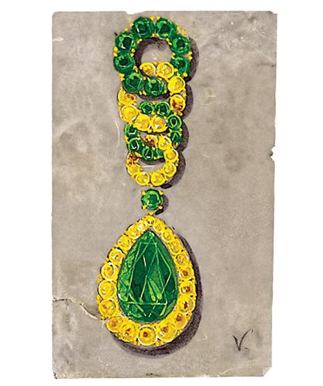 Verdura-Jewelry-Cascade-Earclips-Sketch-EC21-Portrait