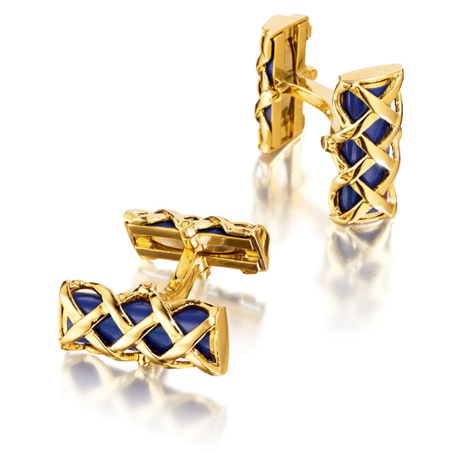 Verdura-Jewelry-Criss-Cross-Bar-Cufflinks-Gold-Blue-Enamel