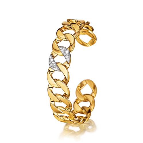 Verdura-Jewelry-Curb-Link Bangle-Yellow-Gold-Diamond