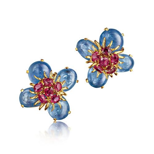Verdura-Jewelry-Dogwood-Earclips-Gold-Sapphire-Ruby