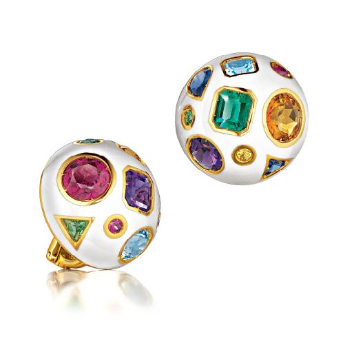Verdura-Jewelry-Fulco-Earclips-Gold-White-Enamel