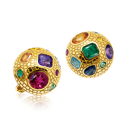 Verdura-Jewelry-Fulco-Mosaic-Earclips-Gold