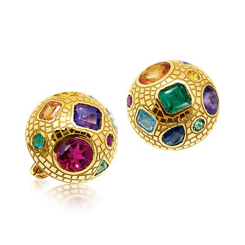 Verdura-Jewelry-Fulco-Mosaic-Earclips-Gold