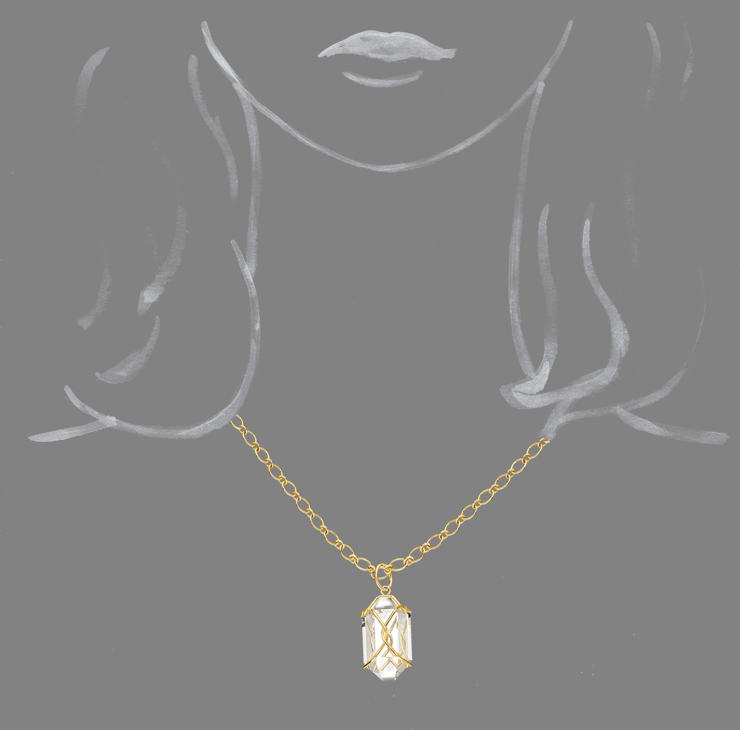 Verdura-Jewelry-Herkimer-Necklace-Rock-Crystal-Scale-Rendering