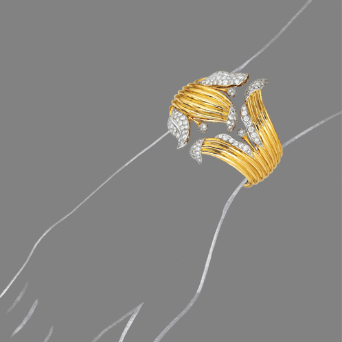 Verdura-Jewelry-Lily-Bracelet-Gold-and-Diamond-Scale-Rendering