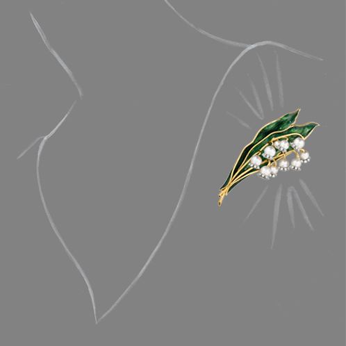 Verdura-Jewelry-Lily-of-the-Valley-Brooch-Scale-Rendering