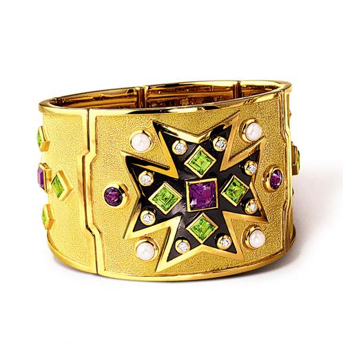 Verdura-Jewelry-Maltese-Cross-Bracelet-Gold-Amethyst-Peridot-Pearl
