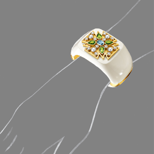 Verdura-Jewelry-Maltese-Cross-Cuff-Aquarmine-Peridot-Scale-Rendering