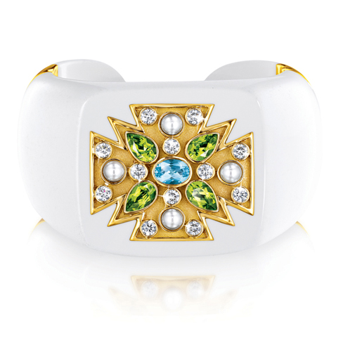 Verdura-Jewelry-Maltese-Cross-Cuff-Cocholong-Gold-Aquamarine-Peridot-Pearl