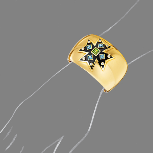Verdura-Jewelry-Maltese-Cross-Cuff-Peridot-Blue-Topaz-Scale-Rendering