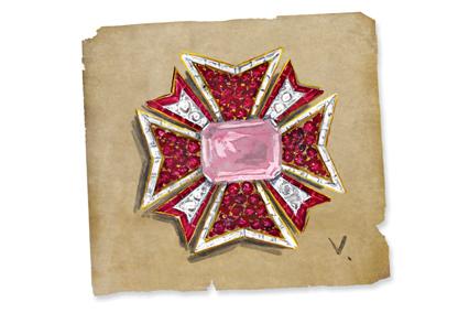 Verdura-Jewelry-Maltese-Cross-Sketch-Landscape
