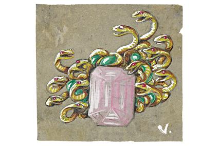 Verdura-Jewelry-Medusa-Brooch-Sketch
