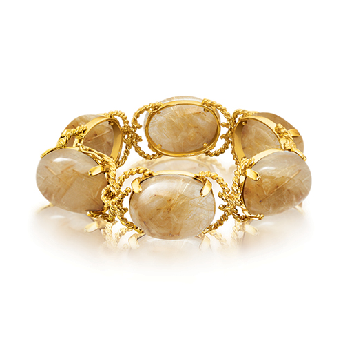Verdura-Jewelry-Pebble-Bracelet-Gold-Rutilated-Quartz