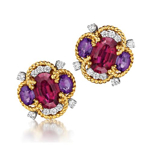 Verdura-Jewelry-Quatrefoil-Earclips-Gold-Rubellite-Amethyst-Diamond