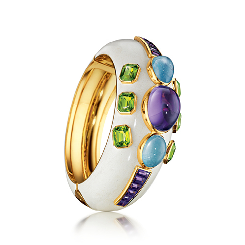 Verdura-Jewelry-Ravenna-Cuff-Gold-Amethyst-Aquamarine-Peridot-Enamel