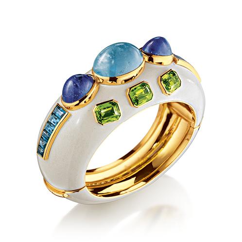 Verdura-Jewelry-Ravenna-Cuff-Gold-Aquamarine-Tanzanite-Peridot-Blue-Topaz-Enamel
