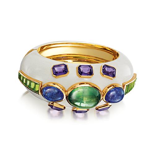 Verdura-Jewelry-Ravenna-Cuff-Gold-Tourmaline-Tanzanite-Amethyst-Peridot-Enamel