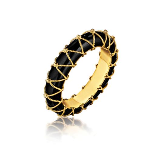 Verdura-Jewelry-Rope-Net-Bangle-Black Jade-Gold