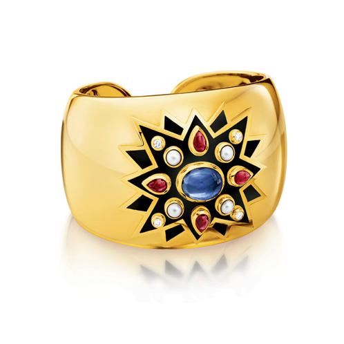 Verdura-Jewelry-Sunburst-Cuff-Gold-Sapphire-Ruby-Enamel