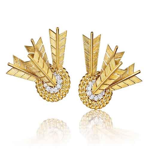 Verdura-Jewelry-Target-Earclips-Gold-Diamond