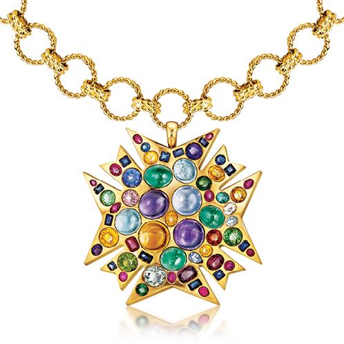 Verdura-Jewelry-Theodora-Brooch-Circle-Rope-Link-Necklace-Gold